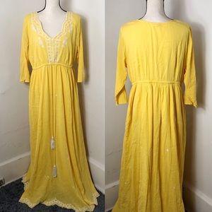 eShakti Yellow White Embroidered Maxi Dress
